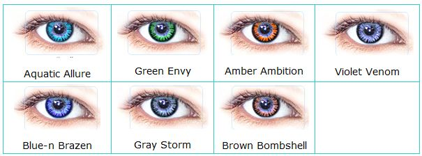 Clearly Colors contact lenses color chart