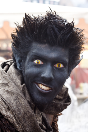 awesome nightcrawler costume with yellow cat eyes color