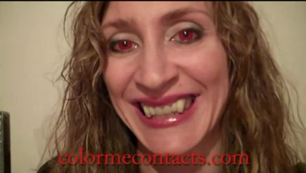 video of zombie red contact lenses