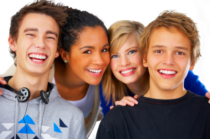 college kids smiling and having fun