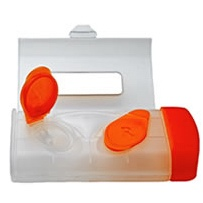 orange contact lens solution case