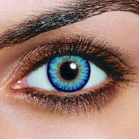triple color blue contact lenses