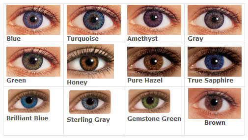 Photos of the 12 different colors of freshlook colorblends contact lenses