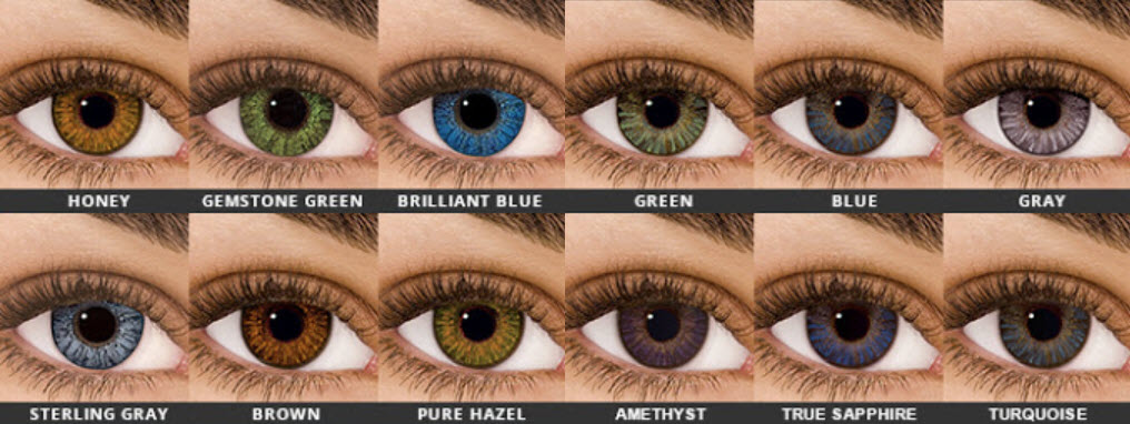 Selection of non-prescription colored contacts from Air Optixs Colors