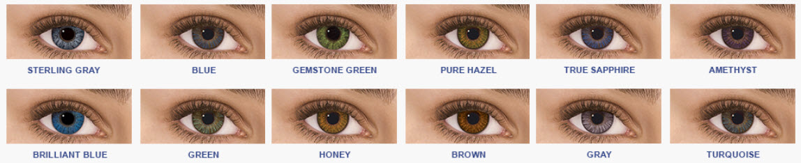 Selection of non-prescription colored contacts from Freshlook Colorblend Colors