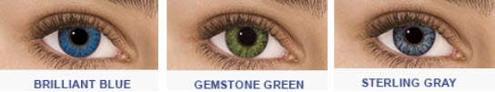 Brilliant Blue, Gemstone Green, and Sterling Gray color contacts on dark eyes