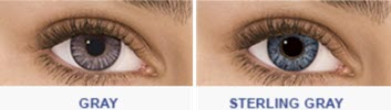 Gray and Sterling Gray color contacts on dark eyes